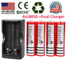 4 X 18650 Battery 3.7v Rechargeable Batteries + Dual Charger For Led Flashlight