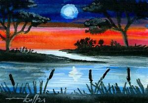 ACEO original acryl painting moonlit twilight moon seascape by Anna Hoff