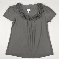 - Ann Taylor LOFT Gray Top Women Large Blouse Scoop Neck Short Sleeves Shirt L