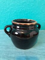 Brown Pottery Double Handle Pot Jar Canister Made in USA
