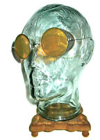 Antique Amber Shield Sunglasses Goggles Old Vtg Steampunk Yellow Safety Glasses
