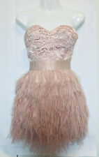 Bebe Strapless Pink Lace Feather Corset Cocktail Isis Mini Dress - Size XS 00 0