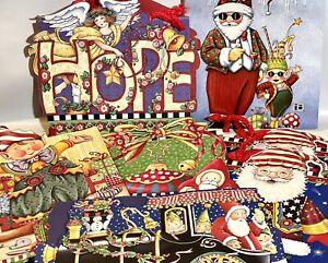 Vintage Mary Engelbreit Lot of 6 Die Cut Gift Bags Holiday Christmas Santa Elves