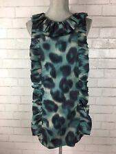 Pin-up Vintage Style VLV Ruffle Shift Dress Animal Print Rockabilly Sz XS