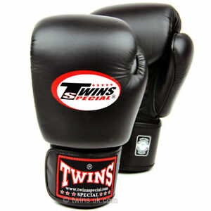 Twins BGVL3 Leather Boxing Gloves Black Muay Thai Kick Sparring Training Mitts