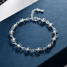 Fashion Silver Flower Charm Bangle Ladies Bracelet Jewelry Accessories GiftsRR