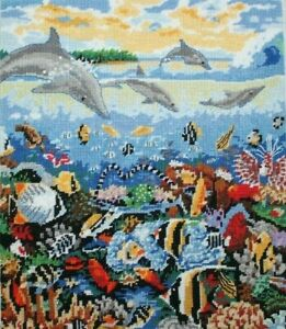 """Sunset """"Dolpins At Play"""" Fish Ocean Water #12090 Needlepoint Completed Finished"""