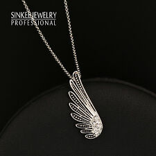 Pendant Necklace White Gold Chain Xl697 Women Vintage Antique Silver Angel Wings