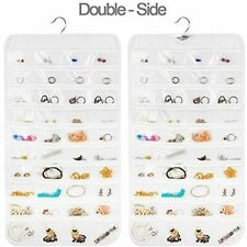 Earring Organizer Dual Sided 80 Pocket Hanging Jewelry Storage Displace Ring