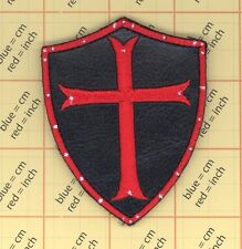 BLACK LEATHER patch CRUSADER Cross Shield Templar Knight CHRISTIAN ARMY Morale