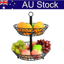 AU! Wrought Iron 2-Tier Fruit Bowl Large Basket Display Kitchen Home Party Decor