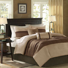 BEAUTIFUL MODERN CASUAL BROWN TAN TAUPE BEIGE CABIN COMFORTER SET KING OR QUEEN
