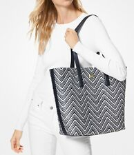MICHAEL Michael Kors Admiral/Optic White Large Junie Woven Leather Tote NWT 328$