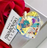 925 STERLING SILVER PENDANT 28MM HEART *CRYSTAL AB* CRYSTALS FROM SWAROVSKI®