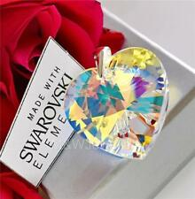 925 Sterling Silver Pendant Crystals From Swarovski® HEART Crystal AB 28mm
