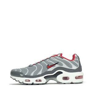 Nike Air Max Plus Tuned TN Junior Trainers Shoes Grey, Red