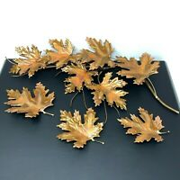 Vtg Home Interiors Brass Copper Gold Metal Maple Leaf Branch Wall Art Set Lot 4