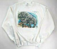 Vintage 90s Manatee Homosassa Springs Sweatshirt White Large Jerzees USA