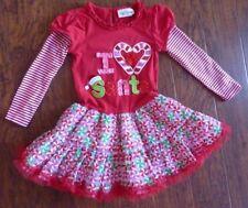 RARE EDITIONS Girls Dress Size 5 Red I LOVE SANTA