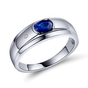 18K White Gold Diamond Enagement Wedding Sapphire Gemstone Band Ring Men Ring