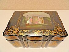 TEA CADDY PAPER PAPIER MACHE  INLAID MOTHER OF PEARL  ANTIQUE TEA CHEST