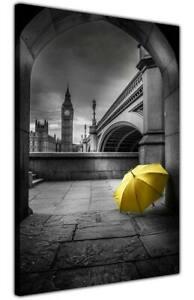 Black and White City Print Big Ben Umbrella Canvas Pictures London Portrait