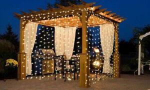 300 LED WARM WHITE CURTAIN FAIRY LIGHTS INDOOR OUTDOOR WEDDING CHRISTMAS DECOR