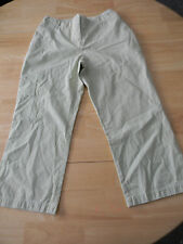 CHICO'S Ticking Stripe Fly Front 100% Cotton Pants Crops Elastic Waist - Sz 0