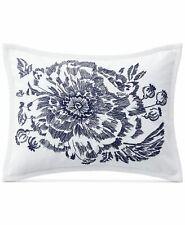 Ralph Lauren Isadora Floral Decorative Pillow White Blue Cotton 12 X 16 New$170