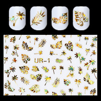 3D Nail Stickers Gold Holographic Tree Leaf Design Nail Art  Decals DIY