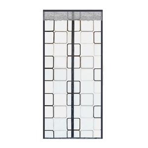 1Pcs Door Curtain Grey Plaid Screen Easy To Install Screen Door Closure