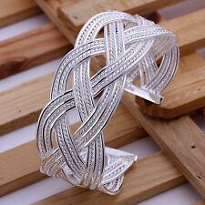 HOT Selling 925Sterling Silver Men Large Weave Knit Mesh Bangle Bracelet B151
