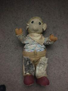 "Antique 1950's 17"" Straw Stuffed Teddy Bear Monkey? Vintage Gund Western Clothes"