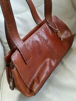 Fossil Leather Tote Handbag Brown Medium