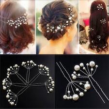 2x Weiß Perlen Mode Haarnadeln Haarschmuck Hochzeit Brautschmuck Tiara Diadem JO