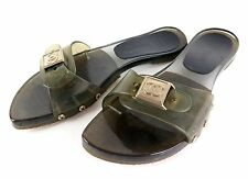 100% Auth CHANEL Jelly Plastic Sandals Black Translucent Mules Size 34 Spain