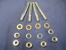 SET 4 MGB INLET MANIFOLD STUDS WITH STEEL NUTS  AND FLAT SPRING  WASHERS F93