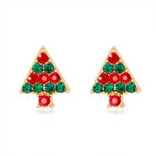 Christmas Trees Rhinestone Crystal Gold Plated Woman Earring Holiday Celebration