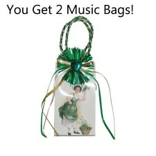 2 Gift Bag Mini Music Boxes White with Shamrock design