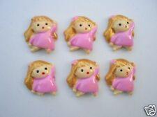 20 Pink Little Girl Resin Flatback Craft Button/Bead/bow/cute B50