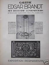 PUBLICITÉ GALERIE EDGAR BRANDT ART DECORATIF CONTEMPORAIN FERRONNERIE LUMINAIRE