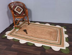 indian hand bohemian natural dye whit white-green colour rectangle scalloped rug