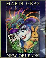 """Mardi Gras Official Poster, signed by artist Andrea Mistretta, 32""""x24"""", 1989"""