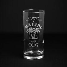 Personalised Engraved Malibu & Coke Glass & FREE UK Post