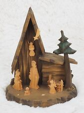 "Vintage Germany Carved Wood Christmas Creche Nativity Manger Scene 6.6"" Tall"
