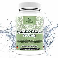 Hyaluronsäure Anti Aging Hochdosiert mit 250mg 60 Vegane Kapsen gegen  Falten