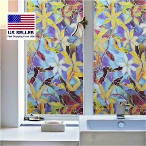 Decorative Window Film, Privacy, Anti-UV, Static Window Cling, Clematis