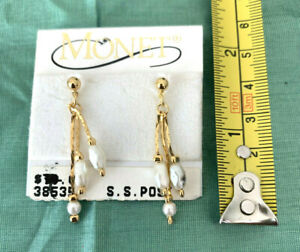 MONET Triple Strand Gold Tone Faux Pearl Drop Surgical Post Earring NEW WITH TAG