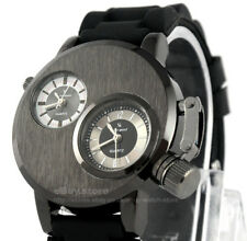 New Posh Fad Elegant Mens Wristwatch Black Silion Rubber Band Quartz Steel Case
