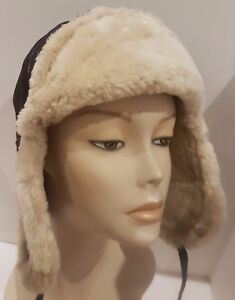 NEW Sheepskin Winter Trapper Bomber Aviator Hat Real Leather Shearling S-M